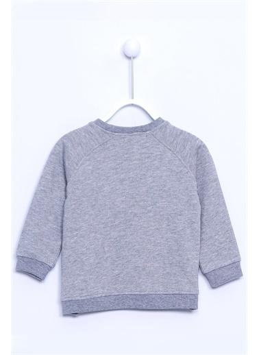 Silversun Kids Baskılı Kol Ve Etek Ucu Lastik Yırtmaç Detaylı Örme Sweatshirt Js 110897 Gri